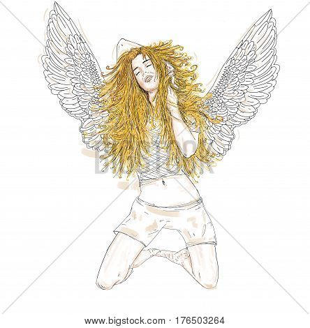 Angel, woman with blonde wings on her knees