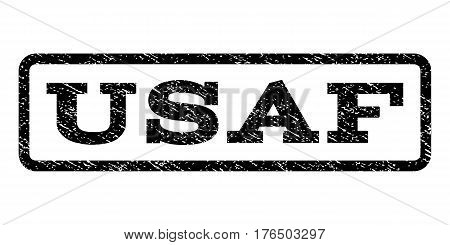 USAf watermark stamp. Text caption inside rounded rectangle with grunge design style. Rubber seal stamp with dirty texture. Vector black ink imprint on a white background.