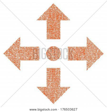 Expand Arrows vector textured icon for overlay watermark stamps. Fabric orange vectorized texture. Symbol with scratched design. Rubber seal stamp with fiber textile structure.
