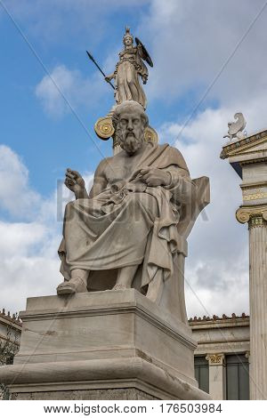 Plato and Athena statues in front of Academy of Athens, Attica, Greece