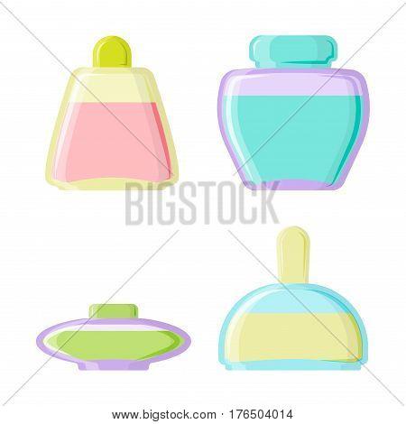 Perfume glamour fashionable beautiful cosmetic bottle and france shiny female packaging tube product female fragrance vector illustration. Perfumery femininity merchandise gift transparent symbol.