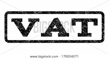 Vat watermark stamp. Text tag inside rounded rectangle frame with grunge design style. Rubber seal stamp with dirty texture. Vector black ink imprint on a white background.