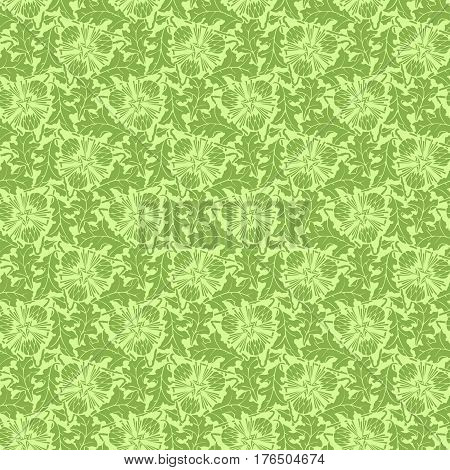 Greenery floral, dandelion seamless pattern texture vector illustration. Spring ecology trendy color 2017, greenery wallpaper design