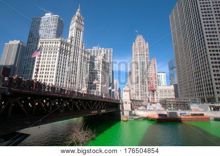 Michigan Avenue Bridge Dying of the Chicago River Green Saint Patrick's Day Wrigle Building Tribune Tower