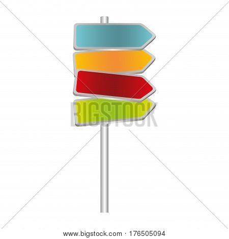 colorful multidirectional metallic plaque road sign vector illustration