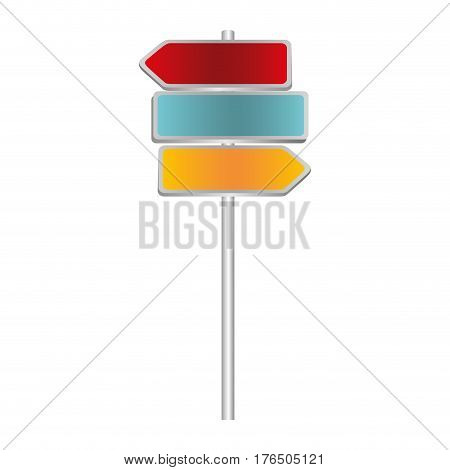 colorful multidirectional metallic plaque road sign and guidepost vector illustration