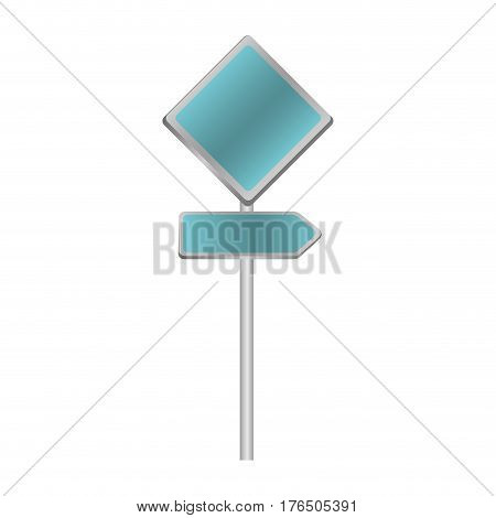 metallic blue diamond shape traffic sign with direction board set vector illustration