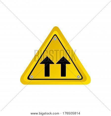 metallic realistic yellow triangle shape frame same direction arrow road traffic sign vector illustration