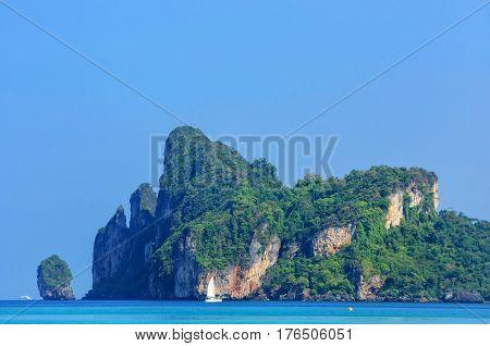 Limestone Cliffs Of Phi Phi Don Island, Krabi Province, Thailand