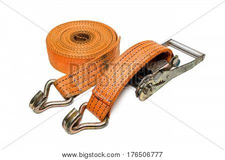 very useful ratchet strap on isolated white background, close up ratchet