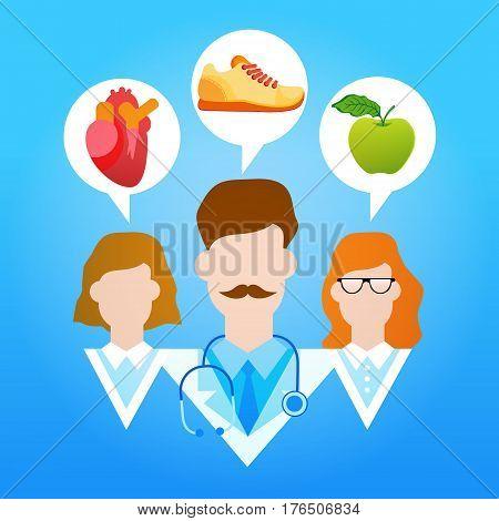 Medical Doctors Group Healthy Lifestyle Vitamins Sport Flat Vector Illustration