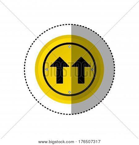 sticker metallic realistic circular frame same direction arrow road traffic sign vector illustration
