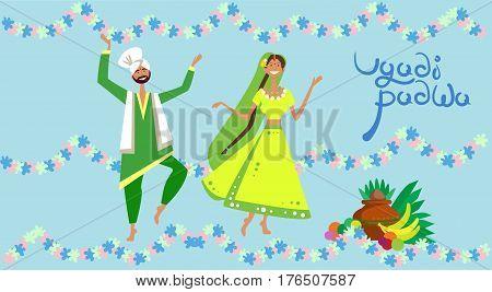 Couple Celebrating Happy Ugadi and Gudi Padwa Hindu New Year Greeting Card Holiday Flat Vector Illustration