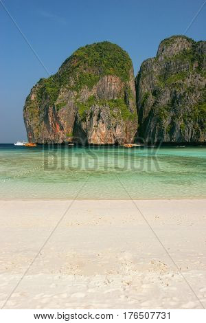 Maya Bay beach on Phi Phi Leh Island Krabi Province Thailand