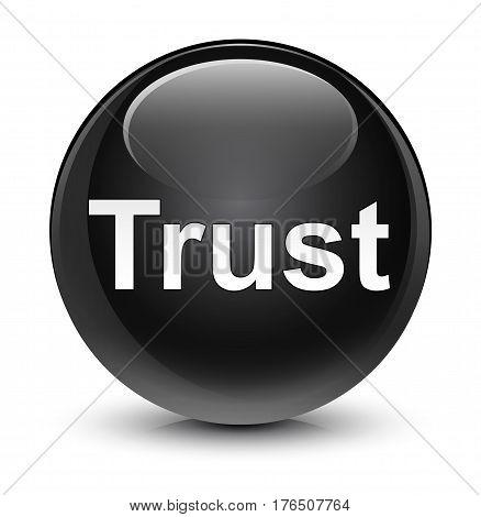 Trust Glassy Black Round Button