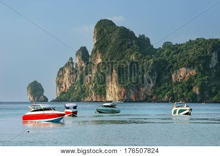 Motorboats Anchored At Ao Loh Dalum Beach On Phi Phi Don Island, Krabi Province, Thailand