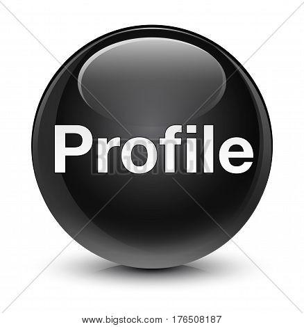 Profile Glassy Black Round Button