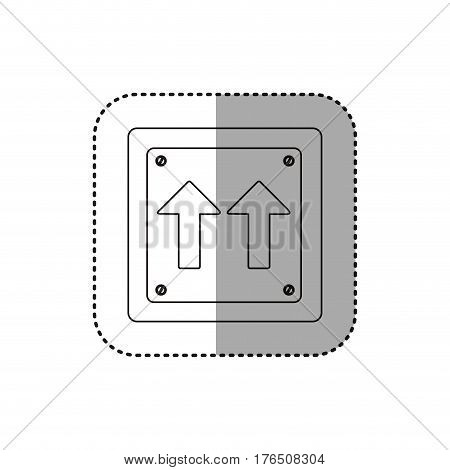 sticker silhouette metallic square frame same direction arrow road traffic sign vector illustration