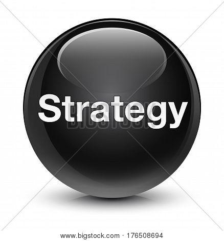 Strategy Glassy Black Round Button