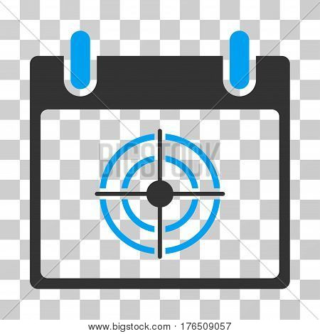Bullseye Calendar Day icon. Vector illustration style is flat iconic bicolor symbol, blue and gray colors, transparent background. Designed for web and software interfaces.