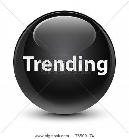 Trending Glassy Black Round Button