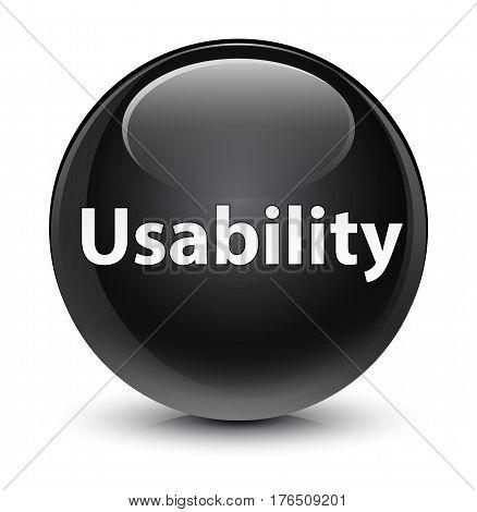 Usability Glassy Black Round Button