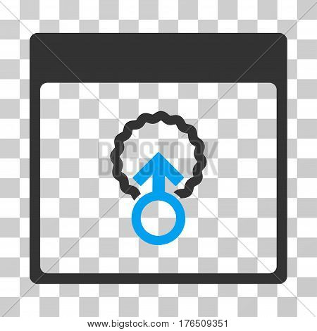 Cell Penetration Calendar Page icon. Vector illustration style is flat iconic bicolor symbol, blue and gray colors, transparent background. Designed for web and software interfaces.