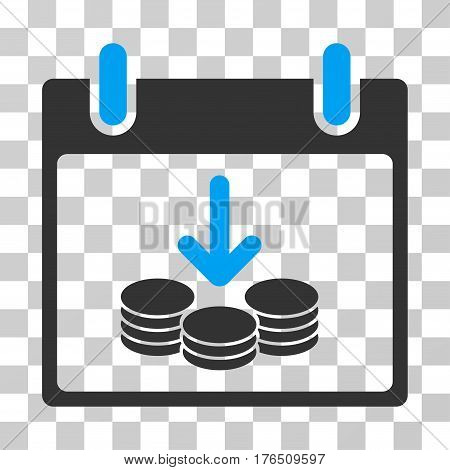 Coins Income Calendar Day icon. Vector illustration style is flat iconic bicolor symbol, blue and gray colors, transparent background. Designed for web and software interfaces.