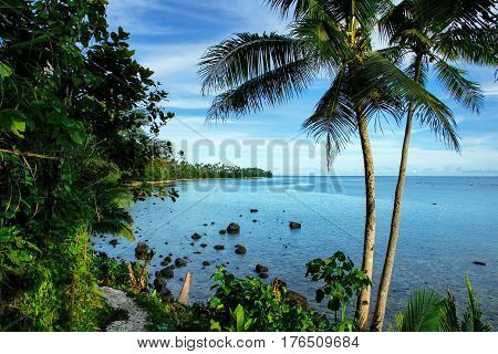 Ocean View Along Lavena Costal Walk On Taveuni Island, Fiji
