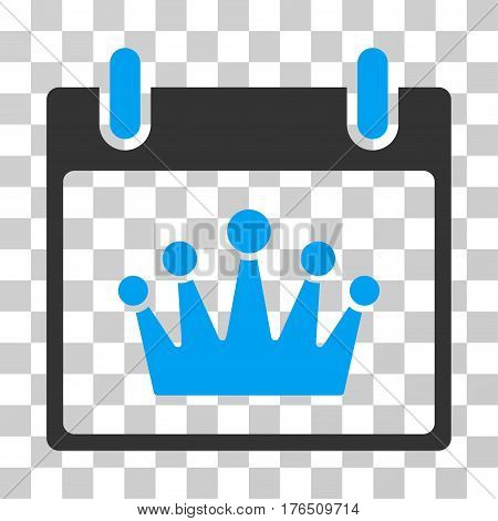 Crown Calendar Day icon. Vector illustration style is flat iconic bicolor symbol, blue and gray colors, transparent background. Designed for web and software interfaces.