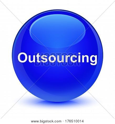 Outsourcing Glassy Blue Round Button