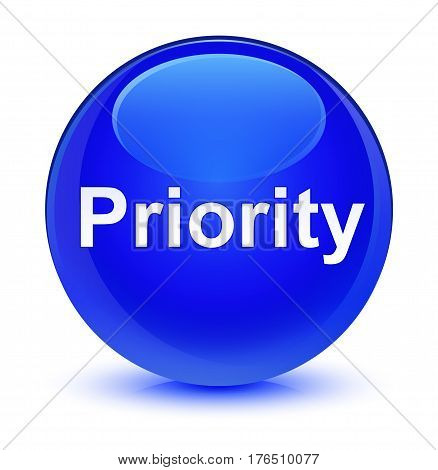 Priority Glassy Blue Round Button
