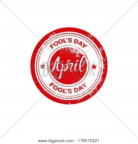 First April Fool Day Happy Holiday Greeting Card Stamp Flat Vector Illustration