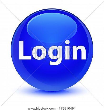 Login Glassy Blue Round Button
