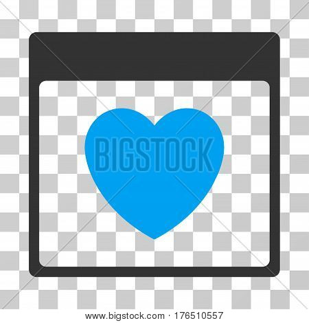 Favourite Heart Calendar Page icon. Vector illustration style is flat iconic bicolor symbol, blue and gray colors, transparent background. Designed for web and software interfaces.