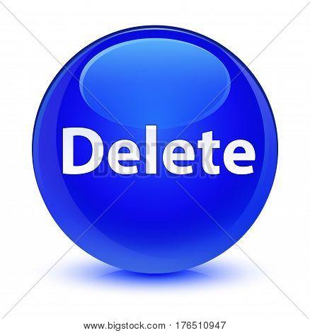Delete Glassy Blue Round Button