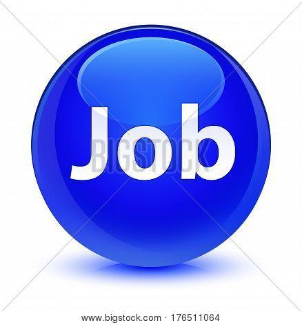 Job Glassy Blue Round Button