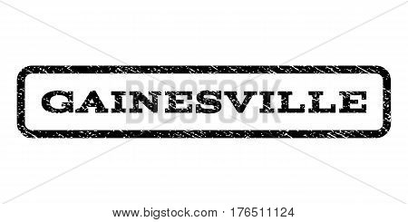 Gainesville watermark stamp. Text tag inside rounded rectangle with grunge design style. Rubber seal stamp with dirty texture. Vector black ink imprint on a white background.