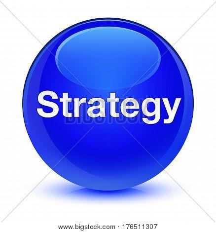Strategy Glassy Blue Round Button