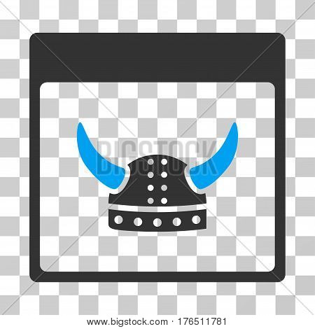 Horned Ancient Helmet Calendar Page icon. Vector illustration style is flat iconic bicolor symbol, blue and gray colors, transparent background. Designed for web and software interfaces.
