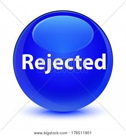 Rejected Glassy Blue Round Button