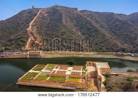 View Of Kesar Kyari (saffron Garden) On Maota Lake From Amber Fort, Rajasthan, India
