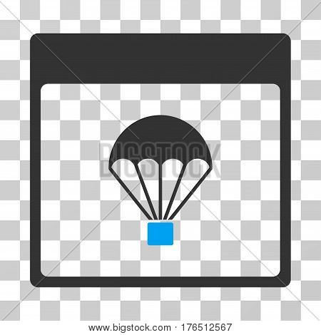 Parachute Calendar Page icon. Vector illustration style is flat iconic bicolor symbol, blue and gray colors, transparent background. Designed for web and software interfaces.