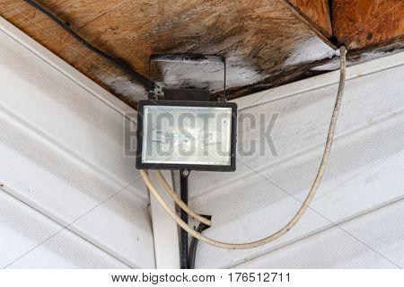Halogen Spotlight In The Corner Of The House