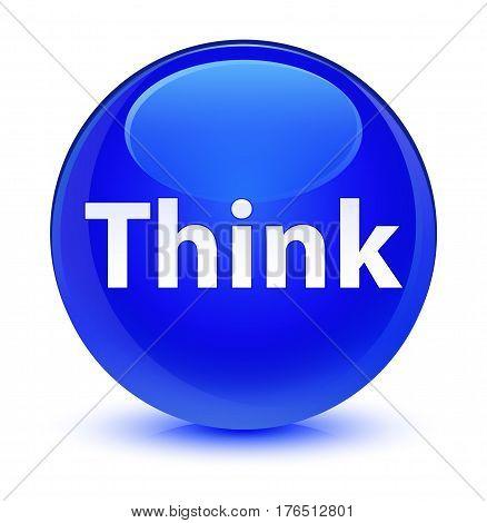Think Glassy Blue Round Button