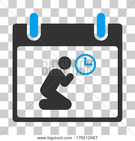 Pray Time Calendar Day icon. Vector illustration style is flat iconic bicolor symbol, blue and gray colors, transparent background. Designed for web and software interfaces.