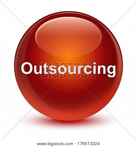 Outsourcing Glassy Brown Round Button