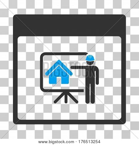 Realty Developer Calendar Page icon. Vector illustration style is flat iconic bicolor symbol, blue and gray colors, transparent background. Designed for web and software interfaces.