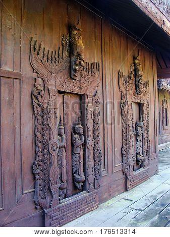 Carved Wooden Doors At Shwe In Bin Kyaung Monastery In Mandalay, Myanmar