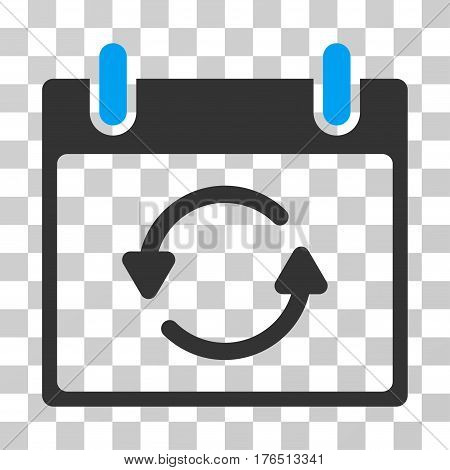 Refresh Calendar Day icon. Vector illustration style is flat iconic bicolor symbol, blue and gray colors, transparent background. Designed for web and software interfaces.